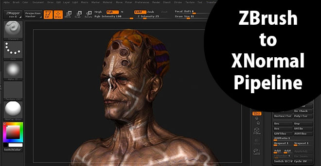Go through taking a finished zbrush model and generate texture maps from it using xnormal
