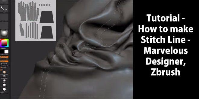 Tutorial How To Make Stitch Line Marvelous Designer Zbrush Zbrushtuts