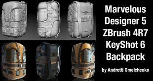 Marvelous Designer 5 ZBrush 4R7 KeyShot 6 Backpack by Andretti Omelchenko