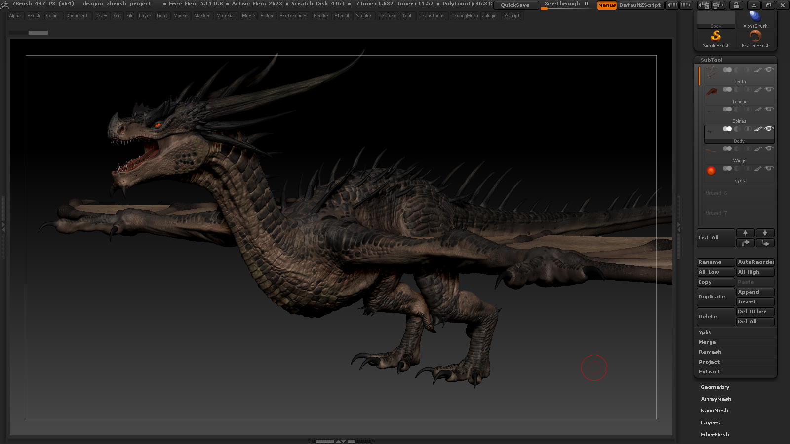 Dragon making of by truong zbrushtuts for Mirror zbrush