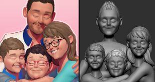 Mama's Birthday hug 3D Art Workflow by Shana Vandercruysse