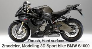 Zbrush, Hard surface Zmodeler, Modeling 3D Sport bike BMW S1000 by DJoN TuK