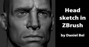 Head sketch in ZBrush by Daniel Bel
