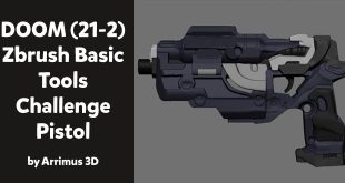 DOOM (21-2) Zbrush Basic Tools Challenge – Pistol by Arrimus 3D