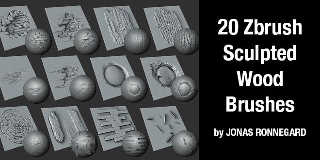 20 Zbrush sculpted wood brushes by JONAS RONNEGARD \u2013 zbrushtuts