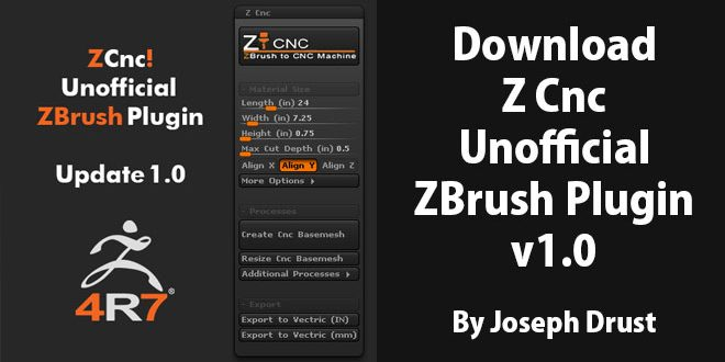 Download Z Cnc – Unofficial ZBrush Plugin v1 0 By Joseph Drust