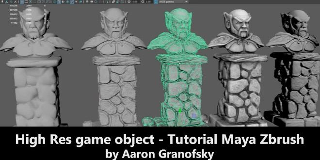 High Res game object – Tutorial Maya Zbrush by Aaron