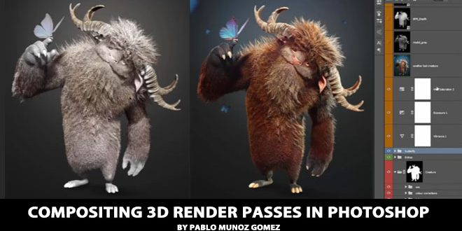 Compositing 3D render passes in Photoshop by Pablo Munoz Gomez