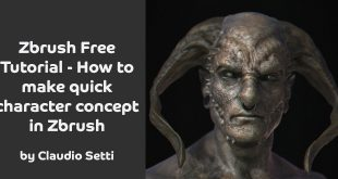 Zbrush Free Tutorial – How to make quick character concept in Zbrush by Claudio Setti