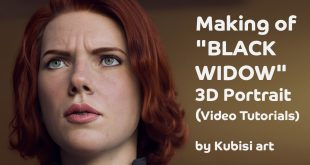 "Making of ""BLACK WIDOW"" 3D Portrait – Video Tutorials by Kubisi art (Senior Creature / Facial Modeller at DNeg)"